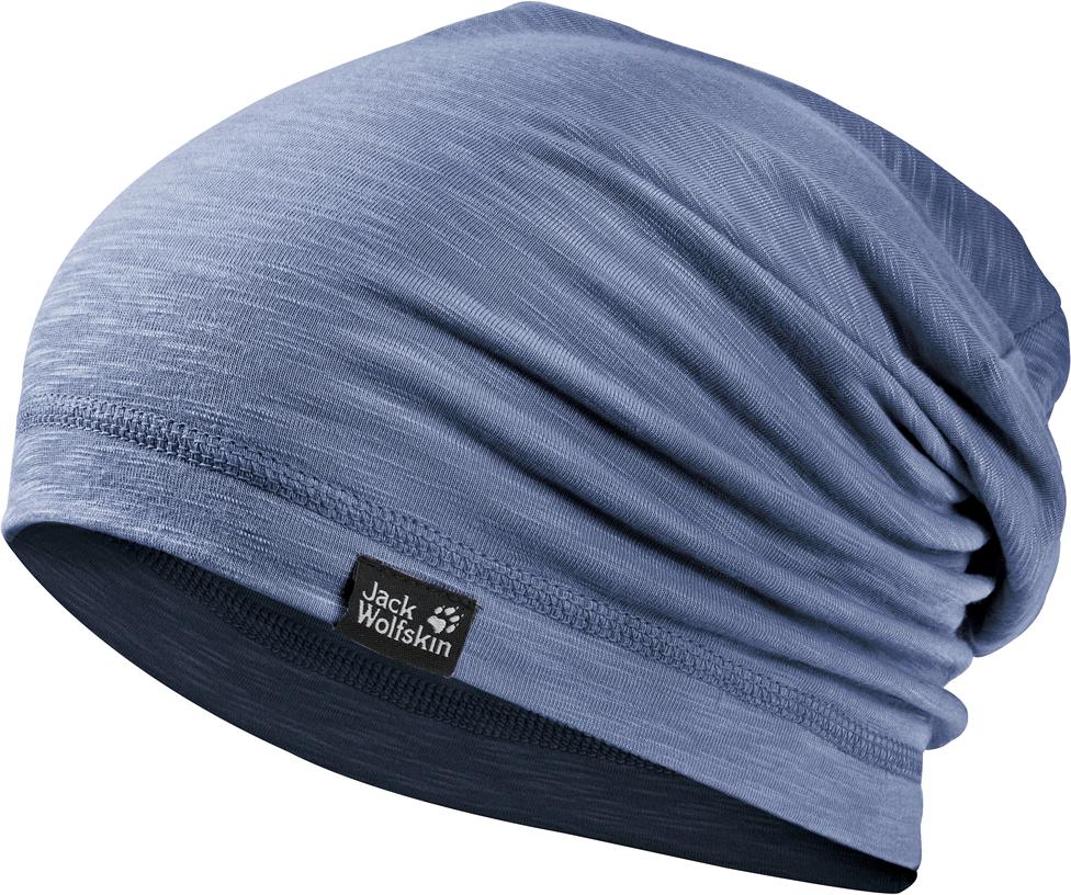 Шапка Jack Wolfskin Travel Beanie, цвет: голубой. 1905601-1405. Размер 55/591905601-1405Пешие прогулки, бег или путешествия - такая шапка идеально подходит для любой ситуации. Шапка выполнена из легкой, приятной на ощупь ткани. Изделие отлично впитывает влагу, поэтому в такой шапке вам всегда будет комфортно. Ткань также имеет специальную обработку, которая уменьшает образование неприятных запахов. Шапка универсальная, она отлично подойдет для образа в стиле casual.