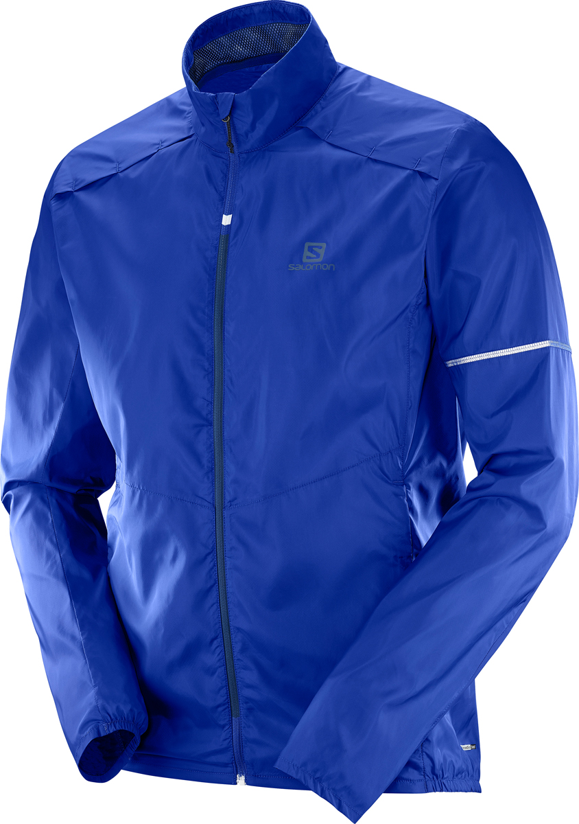 Ветровка мужская Salomon Agile Wind JKT M, цвет: синий. L40111000. Размер L (50)L40111000Ветровка для бега от Salomon выполнена из высококачественного материала. Модель с длинными рукавами и воротником-стойкой застегивается на молнию.