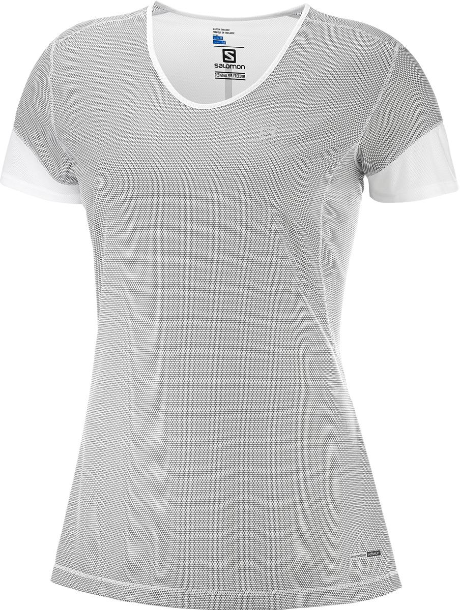 Футболка женская Salomon Trail Runner SS Tee W, цвет: серый. L40082800. Размер M (46/48)L40082800Женская футболка с V-образным вырезом горловины и короткими рукавами выполнена из полиэстера. Спереди модель оформлена логотипом бренда.