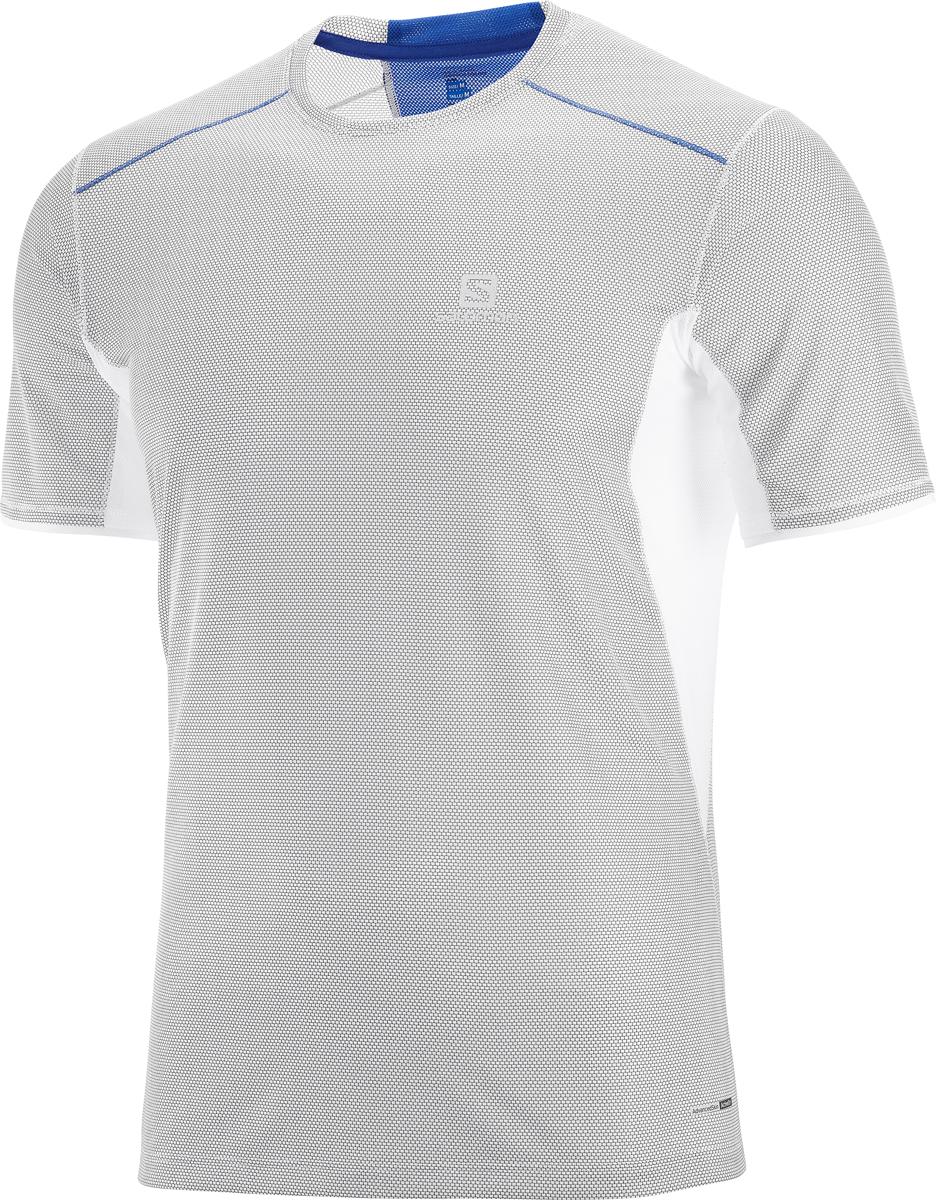 Футболка мужская Salomon Trail Runner SS Tee M, цвет: белый. L40099600. Размер L (50)L40099600Мужская футболка с круглым вырезом горловины и короткими рукавами выполнена из полиэстера. Спереди модель оформлена логотипом бренда.