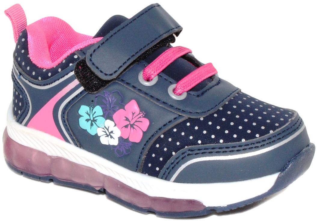 Кроссовки для девочки Капитошка, цвет: синий. E7790. Размер 23E7790Модные кроссовки от Капитошка со светящейся подошвой приведут в восторг вашего ребенка! Модель выполнена из высококачественной искусственной кожи. Модель на ноге фиксируется при помощи шнуровки и ремешка на липучке. Подкладка и стелька из натуральной кожи гарантируют комфорт при носке. Гибкая и легкая подошва, выполненная из ТЭП-материала, долговечна и обеспечивает высокую устойчивость к деформациям.