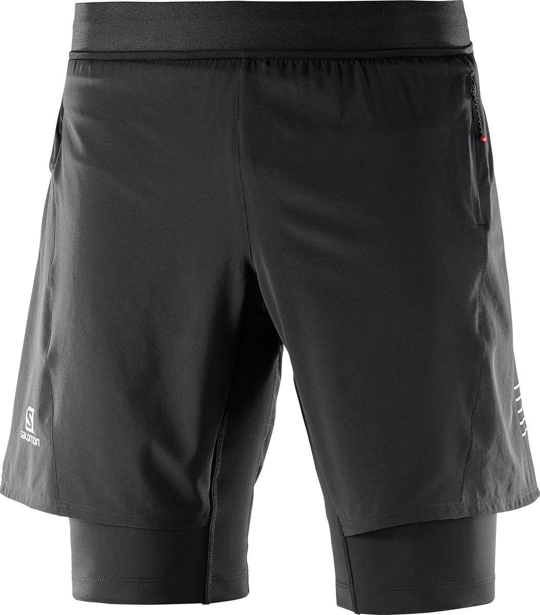Шорты мужские Salomon Fast Wing Twinskin Short M, цвет: черный. L40108100. Размер XL (52)L40108100