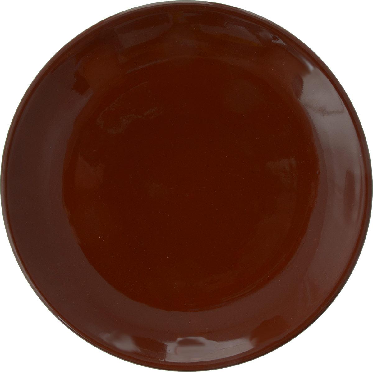 "Тарелка Борисовская керамика ""Cтандарт"", цвет: темно-коричневый, диаметр 23 см"