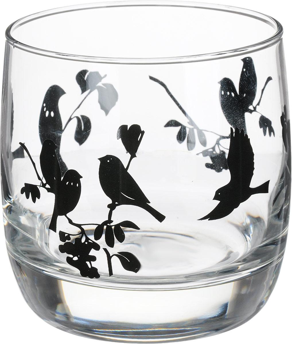 """Стакан OSZ  """"Летний микс"""" выполнен из силикатного стекла.  Стакан прозрачный с птицами черного цвета."""