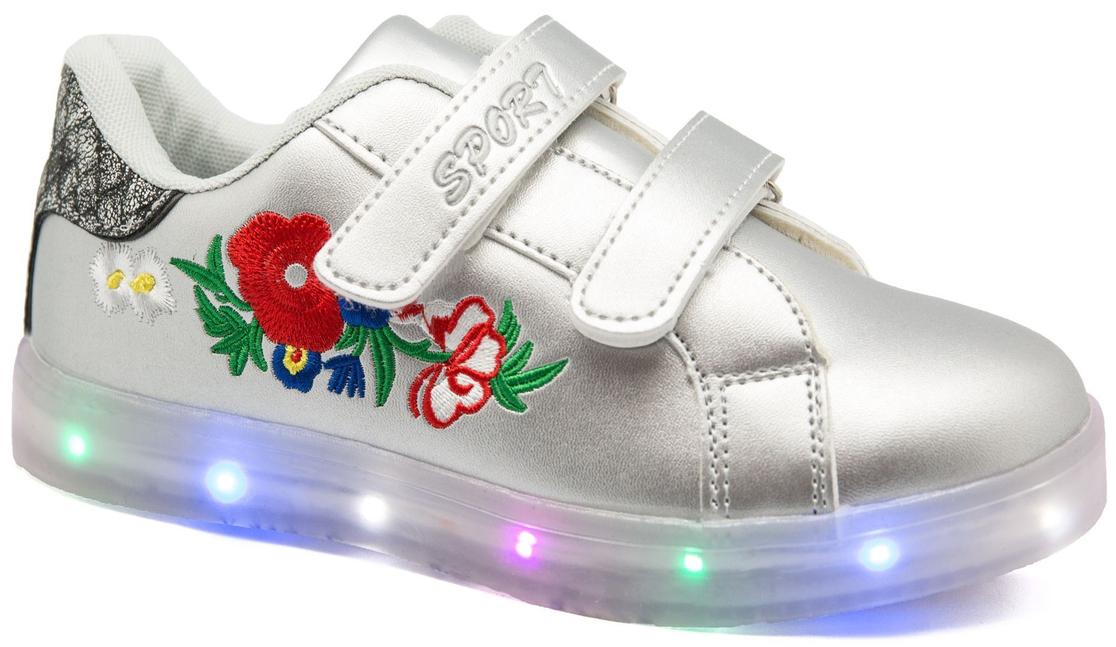 Кроссовки для девочки Канарейка, цвет: серебряный. A917-4. Размер 33A917-4со светодиодами