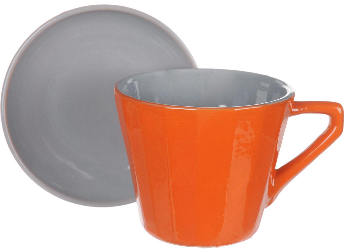 Чайная пара Борисовская керамика Ностальгия, цвет: оранжевый, 200 млРАД14458002_оранжевыйЧайная пара Борисовская керамика Ностальгия, цвет: оранжевый, 200 мл