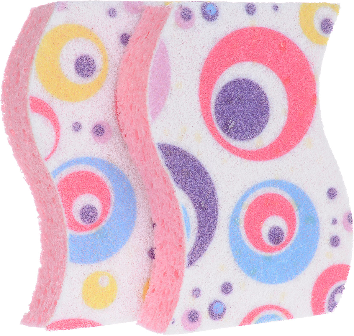 Набор губок Rozenbal, для ванной, цвет: розовый, фиолетовый, белый, 2 шт
