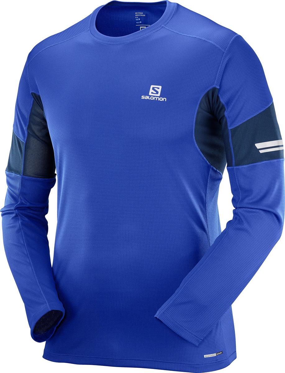 Лонгслив мужской Salomon Agile LS Tee M, цвет: синий. L40209000. Размер XXL (54)L40209000Мужской лонгслив с круглым вырезом горловины и длинными рукавами выполнена из полиэстера. Модель оформлена контрастными вставками на рукавах и по бокам. Спереди изделие оформлено логотипом бренда.