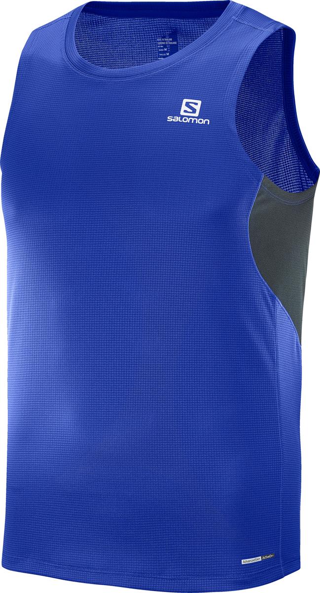 Майка мужская Salomon Agile Tank M, цвет: синий. L40210400. Размер XL (52)L40210400Мужская майка с круглым вырезом горловины и без рукавов выполнена из полиэстера. Спереди модель оформлена логотипом бренда.