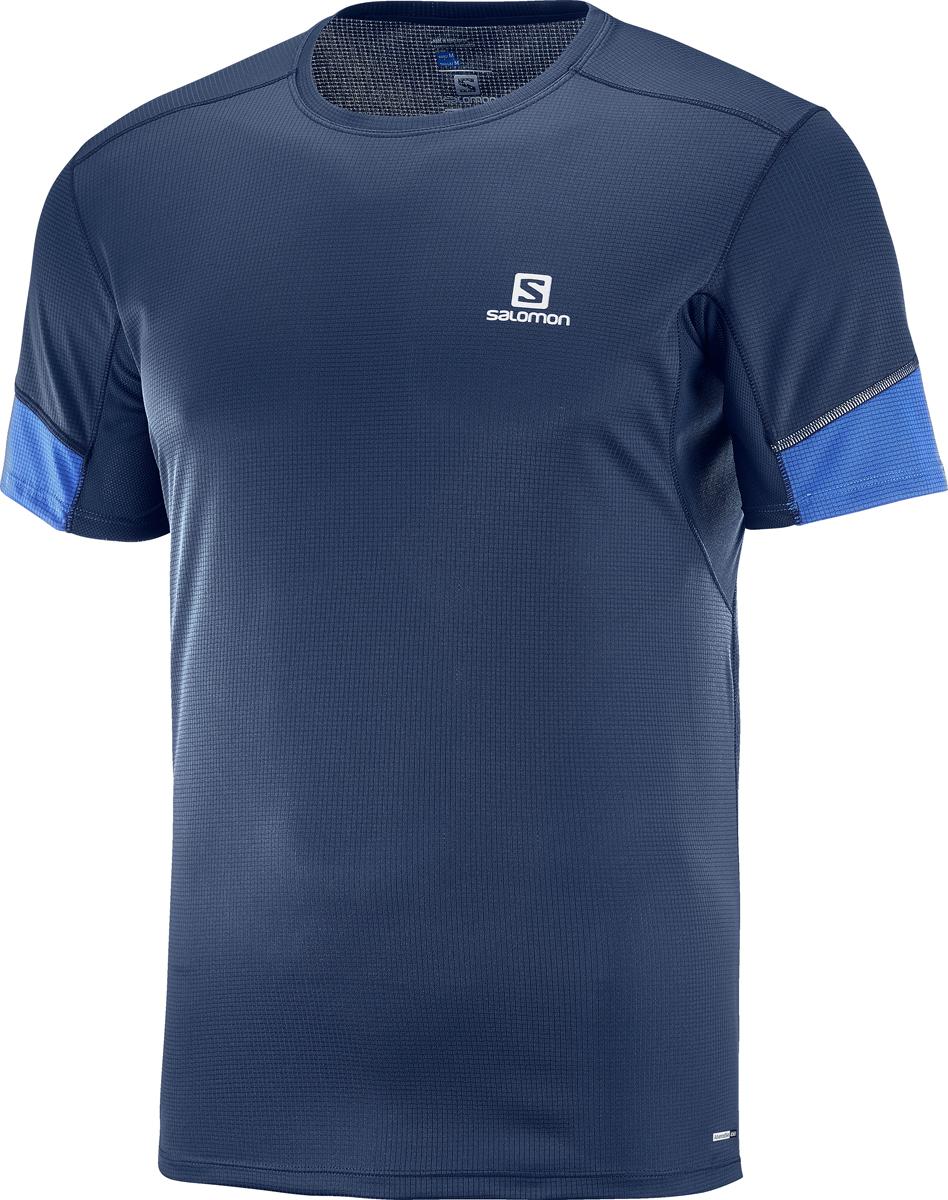 Футболка мужская Salomon Agile LS Tee M, цвет: синий. L40210200. Размер L (50)L40210200