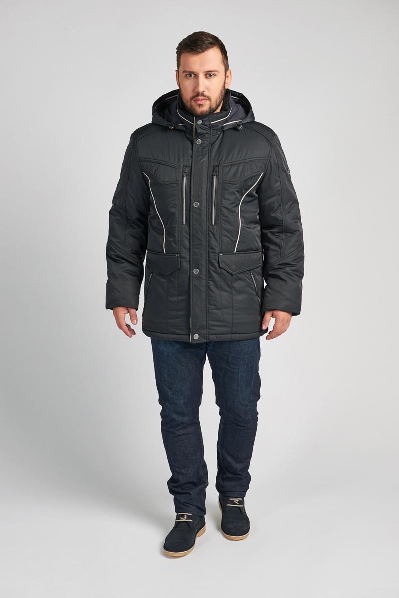 Куртка мужская Vizani, цвет: синий. 10615С_99. Размер 5010615С_99Мужская куртка Vizani выполнена из высококачественного материала. Модель с капюшоном застегивается на застежку-молнию и дополнительно ветрозащитным клапаном на кнопки. Куртка дополнена карманами.