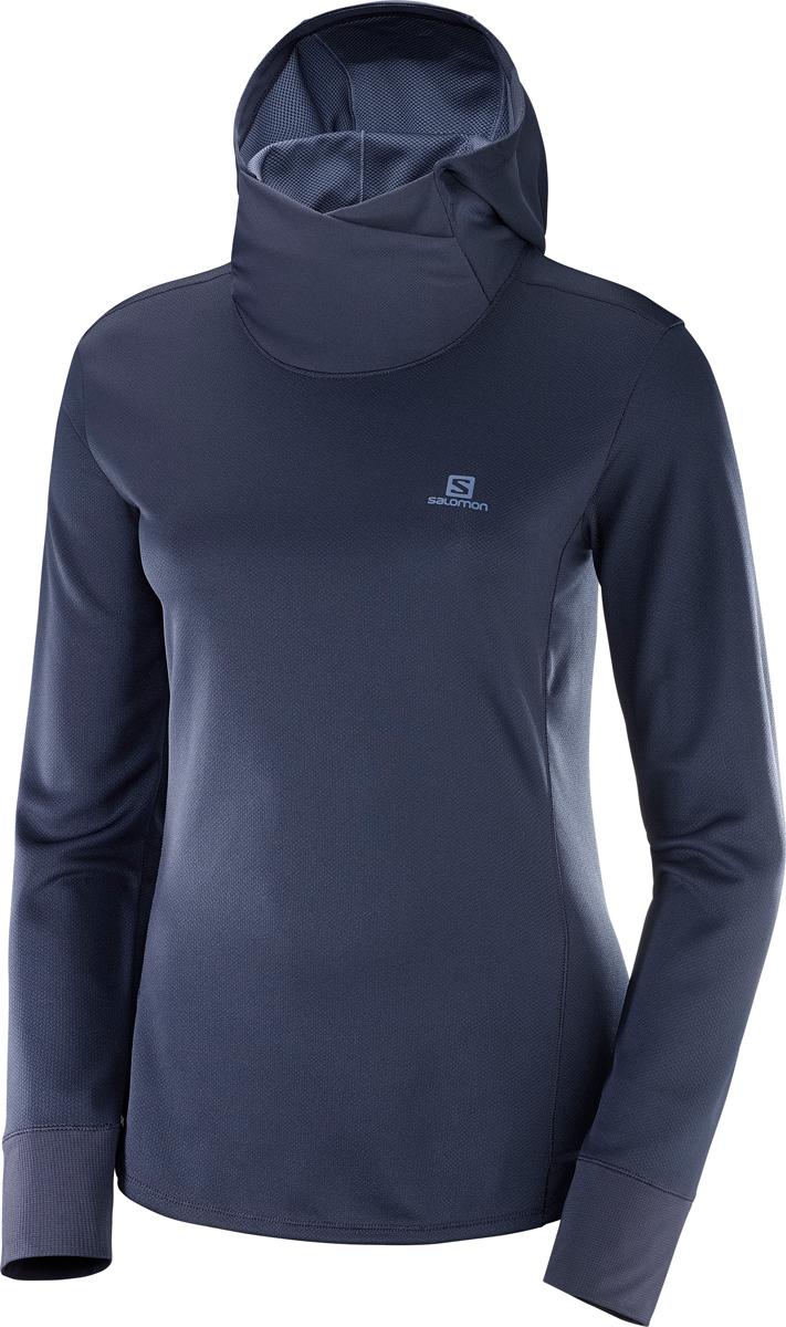 Толстовка женская Salomon Agile LS Hoodie W, цвет: синий. L40121300. Размер S (44)