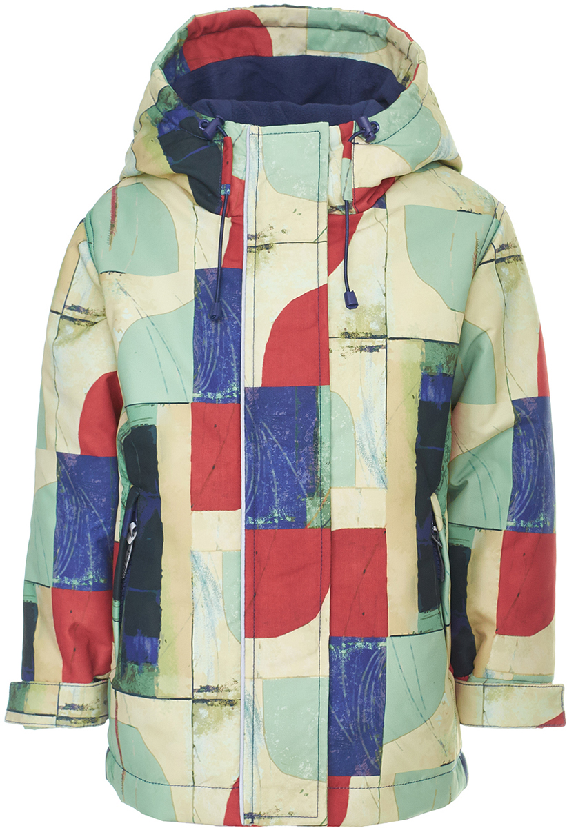 Куртка для мальчика Button Blue, цвет: кремовый, синий, красный. 118BBBA46010013. Размер 128118BBBA46010013Модная демисезонная куртка от Button Blue из мембранной ткани для мальчика сразу привлекает к себе внимание интересным орнаментом. Модель с длинными рукавами и капюшоном застегивается на молнию и имеет ветрозащитный клапан, по бокам дополнена прорезными карманами на молниях. Манжеты рукавов дополнены хлястиками на липучках. Необычная идея добавит стиля образу мальчика, а удобная форма модели гарантирует комфорт для своего владельца. Модель рассчитана на температуру от +5°C до -3°C.