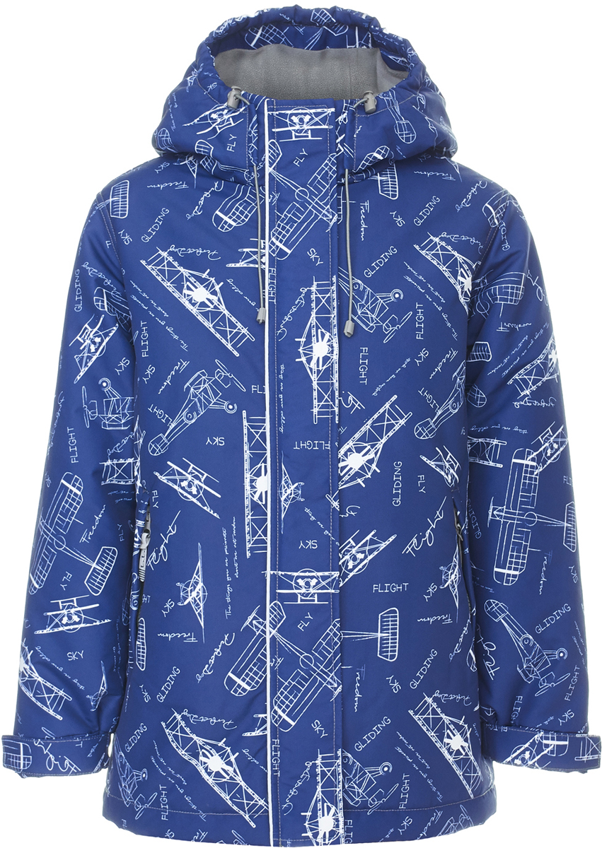 Куртка для мальчика Button Blue, цвет: темно-синий. 118BBBA46011013. Размер 116118BBBA46011013Модная демисезонная куртка от Button Blue из мембранной ткани для мальчика сразу привлекает к себе внимание интересным орнаментом. Модель с длинными рукавами и капюшоном застегивается на молнию и имеет ветрозащитный клапан, по бокам дополнена прорезными карманами на молниях. Манжеты рукавов дополнены хлястиками на липучках. Необычная идея добавит стиля образу мальчика, а удобная форма модели гарантирует комфорт для своего владельца. Модель рассчитана на температуру от +5°C до -3°C.