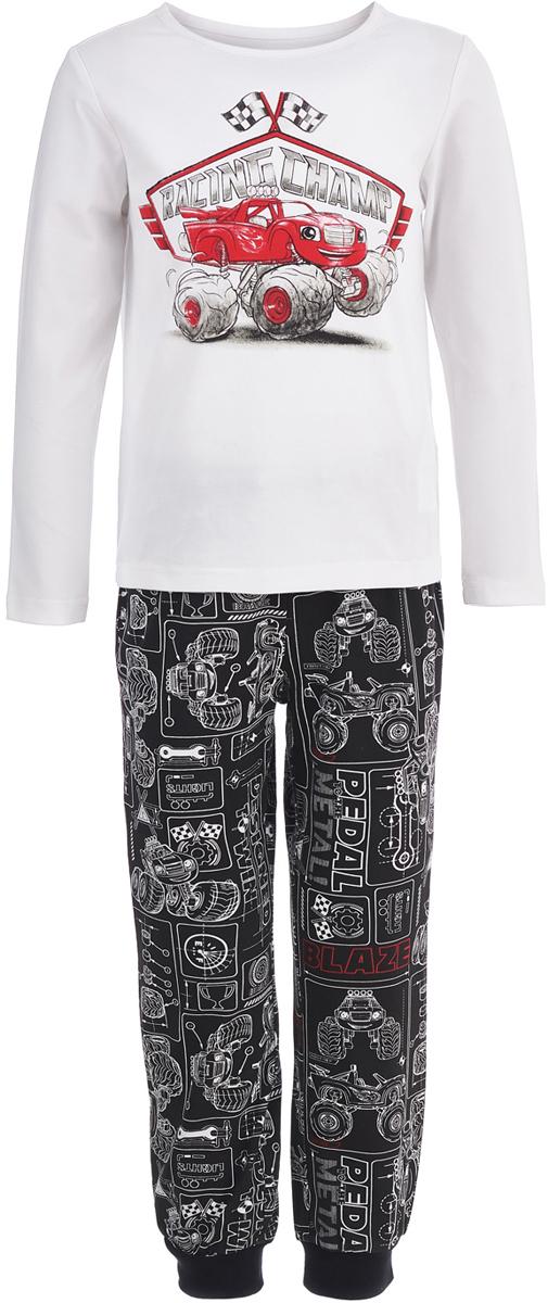 Пижама для мальчика Button Blue, цвет: белый, серый. 118BBBL97030813. Размер 128118BBBL97030813Одежда для сна должна быть максимально комфортной и удобной, но и значение дизайна нельзя недооценивать! Чтобы мальчику было не только уютно, но и приятно ложиться спать, ему можно купить детскую пижаму с изображениями популярных героев. Модель оформлена в стиле мультсериала Вспыш и чудо-машинки и украшена изображением его персонажа. Пижама от Button Blue отличается высоким качеством, дешевой ценой, изготовлена из хлопка с эластаном. Комплект состоит брюк и футболки с длинным рукавом.