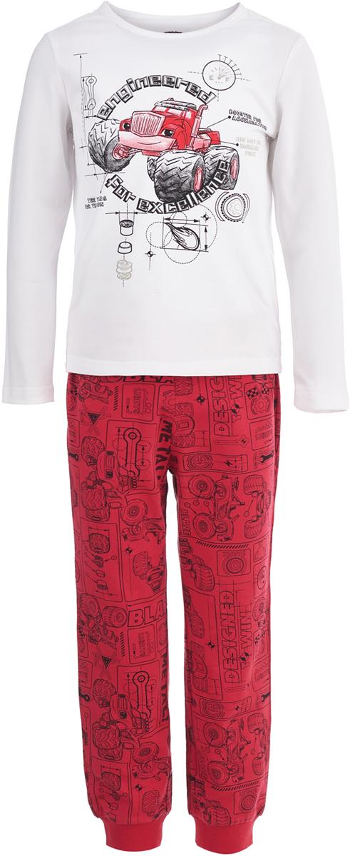 Пижама для мальчика Button Blue, цвет: белый, красный. 118BBBL97033513. Размер 104118BBBL97033513Одежда для сна должна быть максимально комфортной и удобной, но и значение дизайна нельзя недооценивать! Чтобы мальчику было не только уютно, но и приятно ложиться спать, ему можно купить детскую пижаму с изображениями популярных героев. Модель оформлена в стиле мультсериала Вспыш и чудо-машинки и украшена изображением его персонажа. Пижама от Button Blue отличается высоким качеством, дешевой ценой, изготовлена из хлопка с эластаном. Комплект состоит брюк и футболки с длинным рукавом.