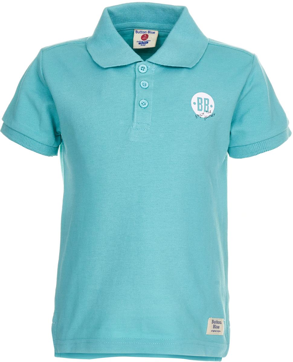 Поло для мальчика Button Blue, цвет: бирюзовый. 118BBBC14013300. Размер 98118BBBC14013300Детское поло от Button Blue - отличная альтернатива футболке; недорогая и удобная одежда, которая помогает удачно расширить гардероб, позволяя не ходить каждый день в одном и том же. Модель с короткими рукавами и отложным воротником на груди застегивается на пуговицы. Купить поло для мальчика от Button Blue, значит обеспечить его стильной и модной моделью, которая добавит в его образ аристократичности. Поло прекрасно сочетается как с повседневной, так и со спортивной одеждой, а шрифтовая надпись на спине добавляет ему оригинальности.