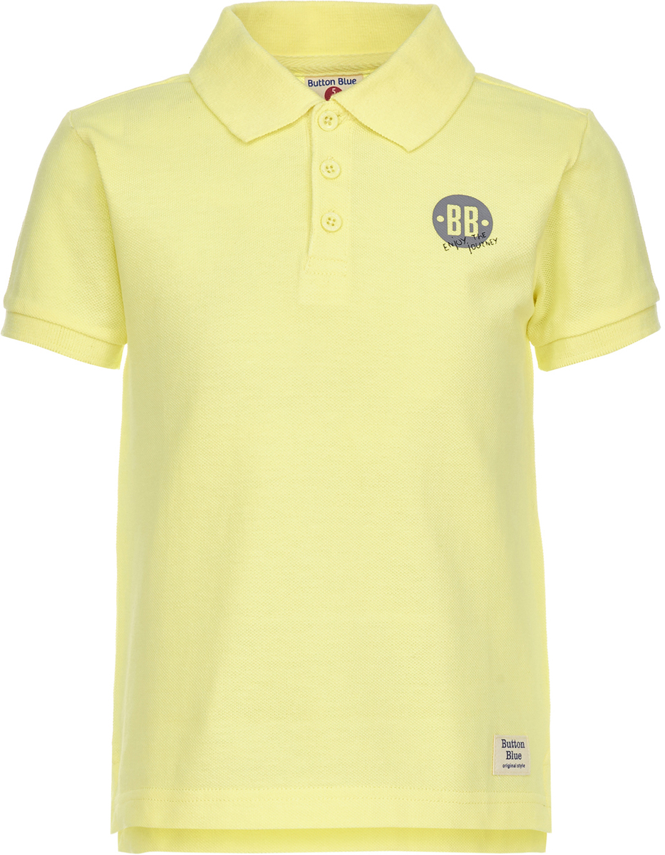 Поло для мальчика Button Blue, цвет: желтый. 118BBBC14012700. Размер 110118BBBC14012700Детское поло от Button Blue - отличная альтернатива футболке; недорогая и удобная одежда, которая помогает удачно расширить гардероб, позволяя не ходить каждый день в одном и том же. Модель с короткими рукавами и отложным воротником на груди застегивается на пуговицы. Купить поло для мальчика от Button Blue, значит обеспечить его стильной и модной моделью, которая добавит в его образ аристократичности. Поло прекрасно сочетается как с повседневной, так и со спортивной одеждой, а шрифтовая надпись на спине добавляет ему оригинальности.