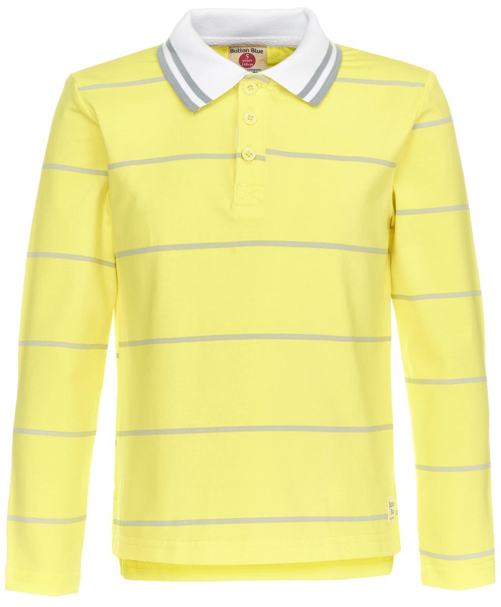Поло для мальчика Button Blue, цвет: желтый. 118BBBC14032705. Размер 98118BBBC14032705Детское поло от Button Blue - отличная альтернатива футболке; недорогая и удобная одежда, которая помогает удачно расширить гардероб, позволяя не ходить каждый день в одном и том же. Модель с длинными рукавами и отложным воротником на груди застегивается на пуговицы. Купить поло для мальчика от Button Blue, значит обеспечить его стильной и модной моделью, которая добавит в его образ аристократичности. Поло прекрасно сочетается как с повседневной, так и со спортивной одеждой, а шрифтовая надпись на спине добавляет ему оригинальности.