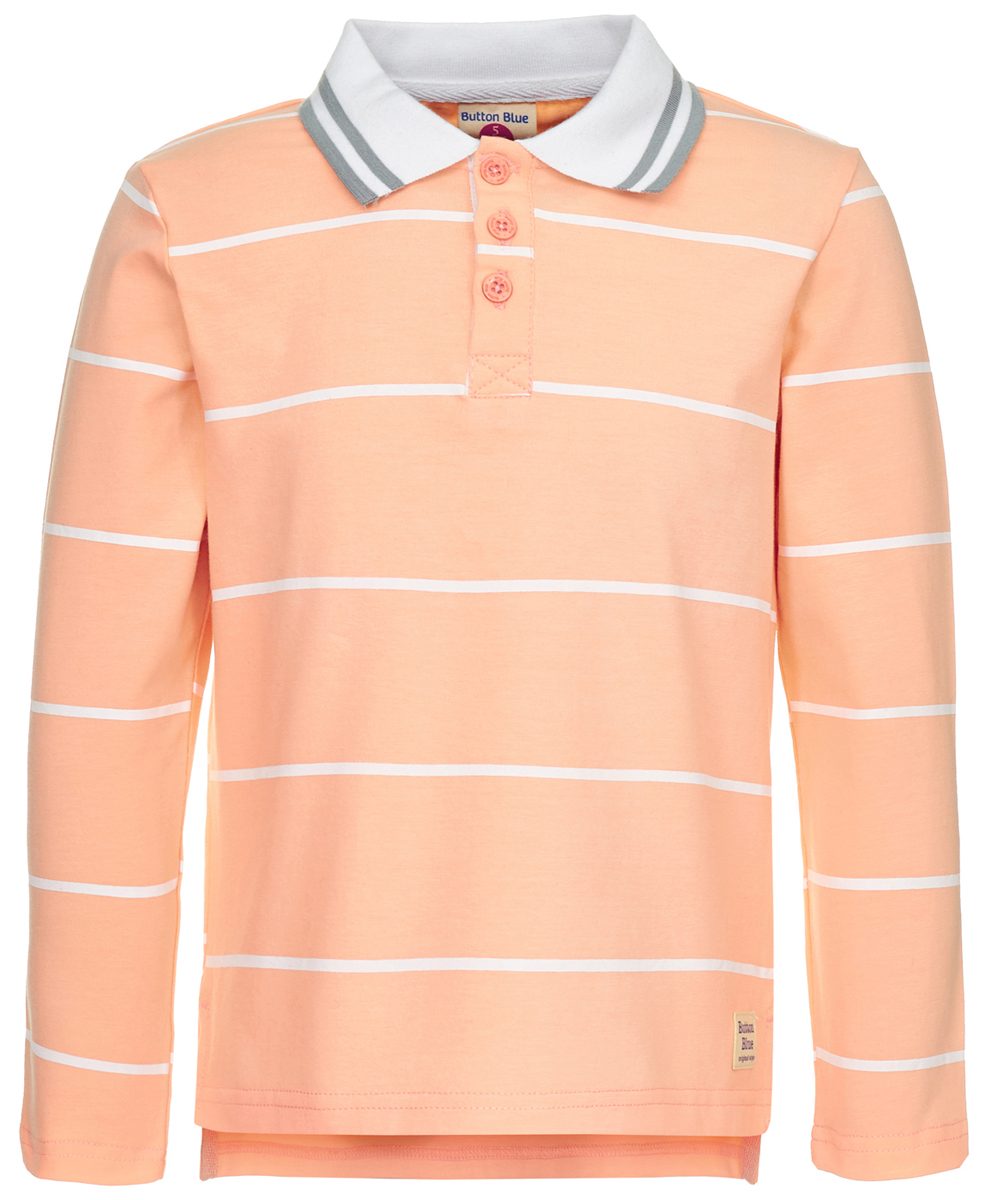 Поло для мальчика Button Blue, цвет: оранжевый. 118BBBC14032205. Размер 134118BBBC14032205Детское поло от Button Blue - отличная альтернатива футболке; недорогая и удобная одежда, которая помогает удачно расширить гардероб, позволяя не ходить каждый день в одном и том же. Модель с длинными рукавами и отложным воротником на груди застегивается на пуговицы. Купить поло для мальчика от Button Blue, значит обеспечить его стильной и модной моделью, которая добавит в его образ аристократичности. Поло прекрасно сочетается как с повседневной, так и со спортивной одеждой, а шрифтовая надпись на спине добавляет ему оригинальности.