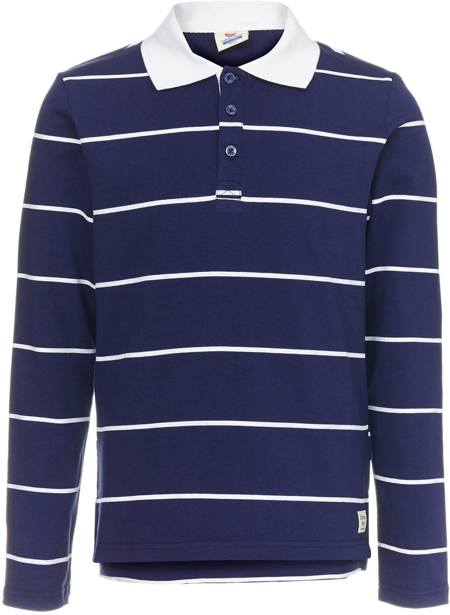 Поло для мальчика Button Blue, цвет: темно-синий. 118BBBC14031005. Размер 128118BBBC14031005Детское поло от Button Blue - отличная альтернатива футболке; недорогая и удобная одежда, которая помогает удачно расширить гардероб, позволяя не ходить каждый день в одном и том же. Модель с длинными рукавами и отложным воротником на груди застегивается на пуговицы. Купить поло для мальчика от Button Blue, значит обеспечить его стильной и модной моделью, которая добавит в его образ аристократичности. Поло прекрасно сочетается как с повседневной, так и со спортивной одеждой, а шрифтовая надпись на спине добавляет ему оригинальности.