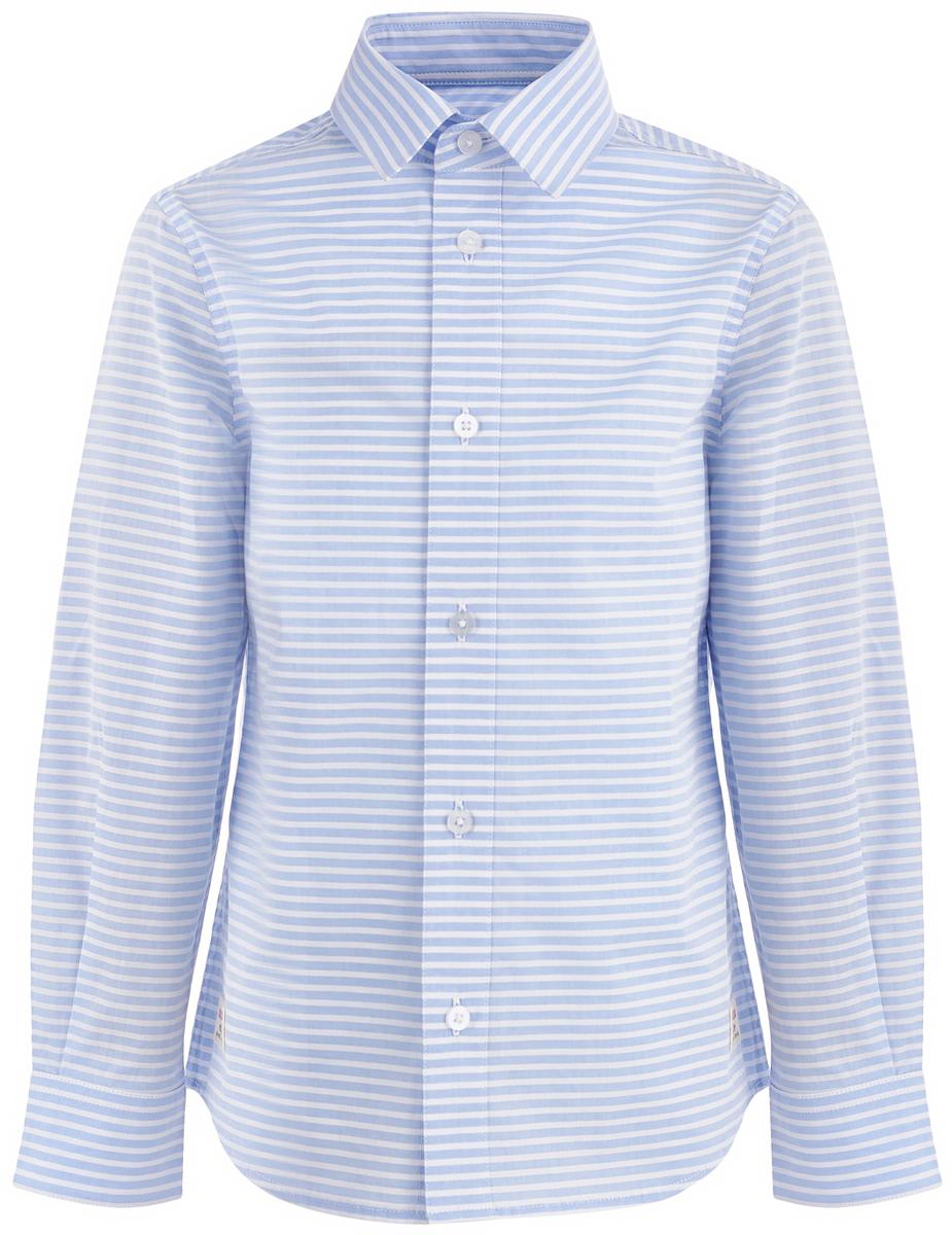 Рубашка для мальчика Button Blue, цвет: белый, голубой. 118BBBC23053705. Размер 146118BBBC23053705Стильная недорогая рубашка от Button Blue - то, что нужно, чтобы составлять модные и эффектные образы. Модель с длинными рукавами и отложным воротником застегивается на пуговицы. Рубашка выполнена из натурального хлопка. Рукава украшены заплатками на локтях. Рубашка в полоску сочетается с самой разной одеждой, поэтому может считаться идеальной базовой вещью гардероба.