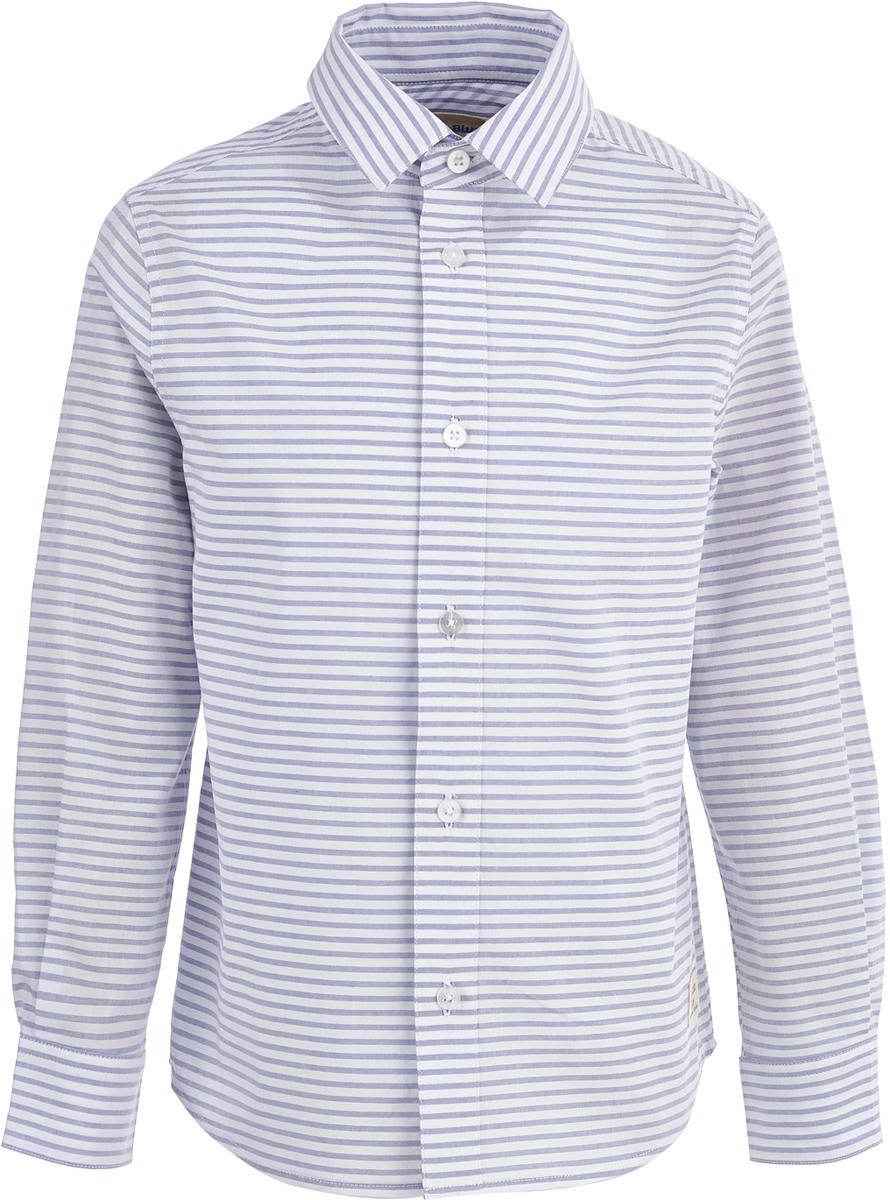 Рубашка для мальчика Button Blue, цвет: белый, серый. 118BBBC23051005. Размер 158118BBBC23051005Стильная недорогая рубашка от Button Blue - то, что нужно, чтобы составлять модные и эффектные образы. Модель с длинными рукавами и отложным воротником застегивается на пуговицы. Рубашка выполнена из натурального хлопка. Рукава украшены заплатками на локтях. Рубашка в полоску сочетается с самой разной одеждой, поэтому может считаться идеальной базовой вещью гардероба.