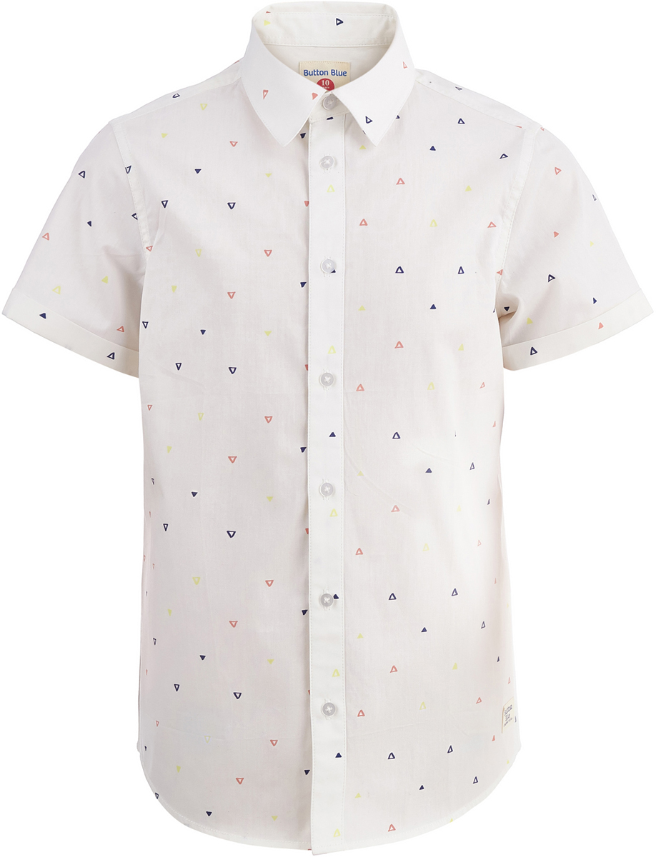 Рубашка для мальчика Button Blue, цвет: белый. 118BBBC23020209. Размер 158