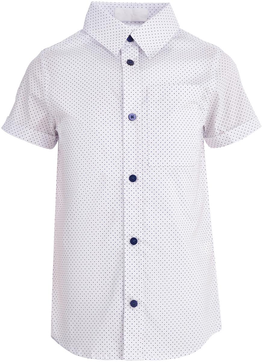 Рубашка для мальчика Button Blue, цвет: белый. 118BBBC23030204. Размер 152 рубашка в мелкий горошек