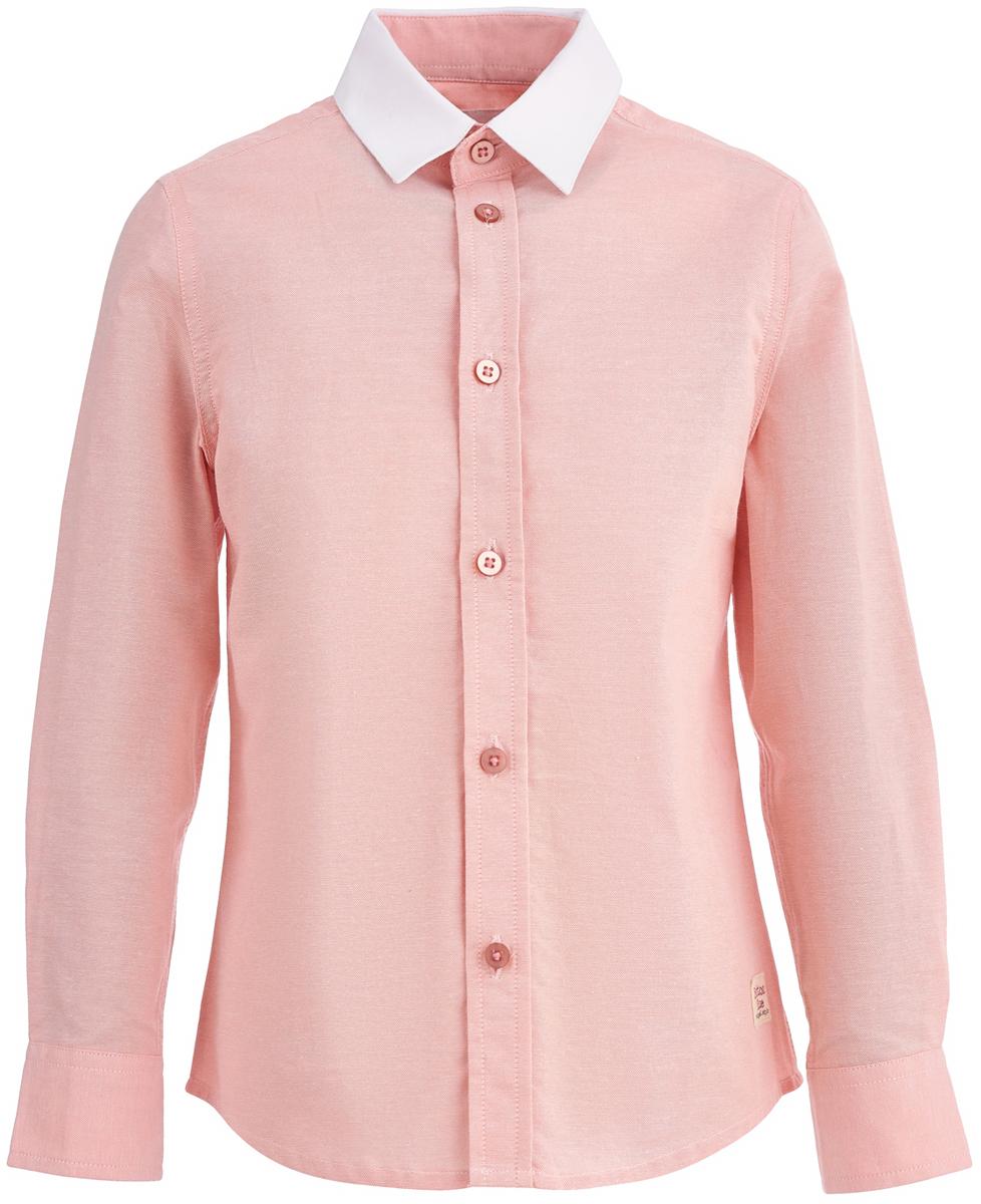 Рубашка для мальчика Button Blue, цвет: коралловый. 118BBBC23012200. Размер 140118BBBC23012200Рубашка для мальчика от Button Blue- часть гардероба, без которой он не сможет обойтись. Модель с длинными рукавами и отложным воротником застегивается на пуговицы. Приятный цвет делает модель оригинальной и не похожей на другие, в ней ребенок будет выгодно выделяться.