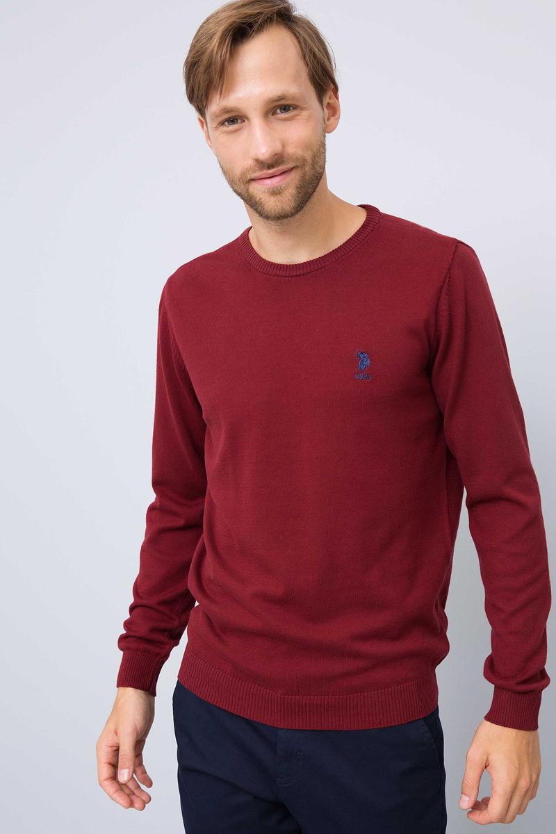 Джемпер мужской U.S. Polo Assn., цвет: бордовый. G081GL0TK0GTD01-BSK7. Размер L (52) джемпер мужской marc o polo цвет серый 507460646 936 размер m 46