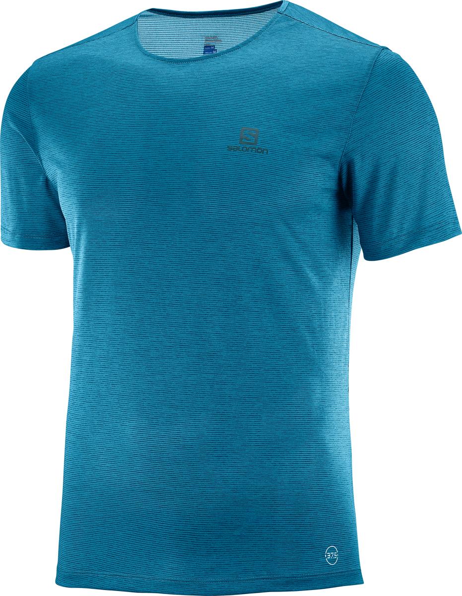 Футболка мужская Salomon Cosmic Crew SS Tee M, цвет: бирюзовый. L40094500. Размер M (48)L40094500Мужская футболка с круглым вырезом горловины и короткими рукавами выполнена из полиэстера. Спереди модель оформлена логотипом бренда.