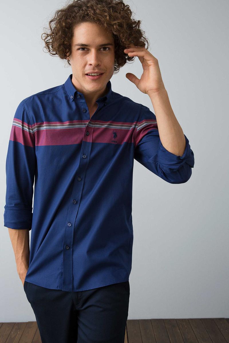 где купить Рубашка мужская U.S. Polo Assn., цвет: темно-синий. G081GL004ARMASIMPSON. Размер L (52) по лучшей цене