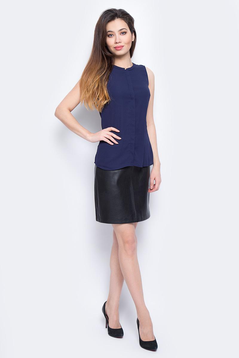 Блузка женская Sela, цвет: темно-синий. Bsl-112/272-8111. Размер 42Bsl-112/272-8111Блузка женская Sela выполнена из полиэстера. Модель с круглым вырезом горловины.