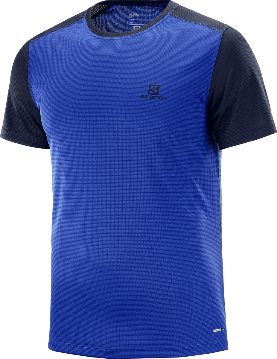 где купить Футболка мужская Salomon Stroll SS Tee M, цвет: синий. L40097200. Размер XL (52) дешево