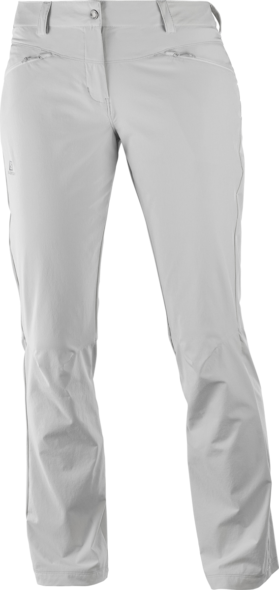 Брюки женские Salomon Wayfarer Lt Pant W, цвет: светло-серый. L40218800. Размер 36-32 (42-32)L40218800Женские брюки Salomon выполнены из высококачественного материала. Модель застегивается на пуговицу в поясе и ширинку на застежке-молнии, дополнены шлевками для ремня. Спереди модель дополнена двумя врезными карманами с косыми срезами на застежках - молниях.