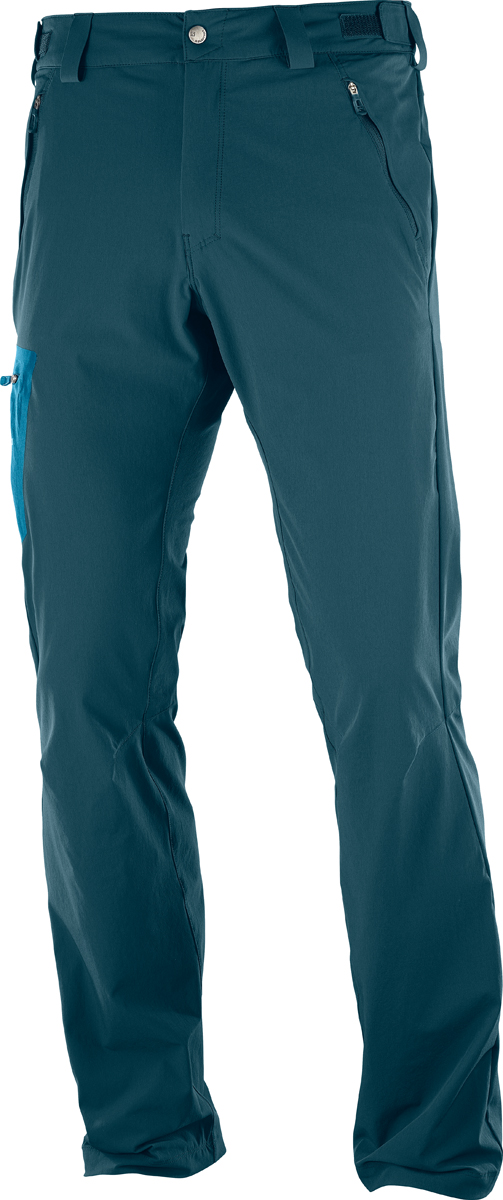 Брюки мужские Salomon Wayfarer Pant M, цвет: бирюзовый. L40107400. Размер 52-32 (54-32)L40107400Мужские брюки Salomon выполнены из высококачественного материала. Модель застегивается на пуговицу в поясе и ширинку на застежке-молнии, дополнены шлевками для ремня. Модель дополнена спереди двумя врезными карманами на застежках - молниях, сзади двумя врезными карманами на застежках - молниях и сбоку на брючине накладным карманом на молнии.