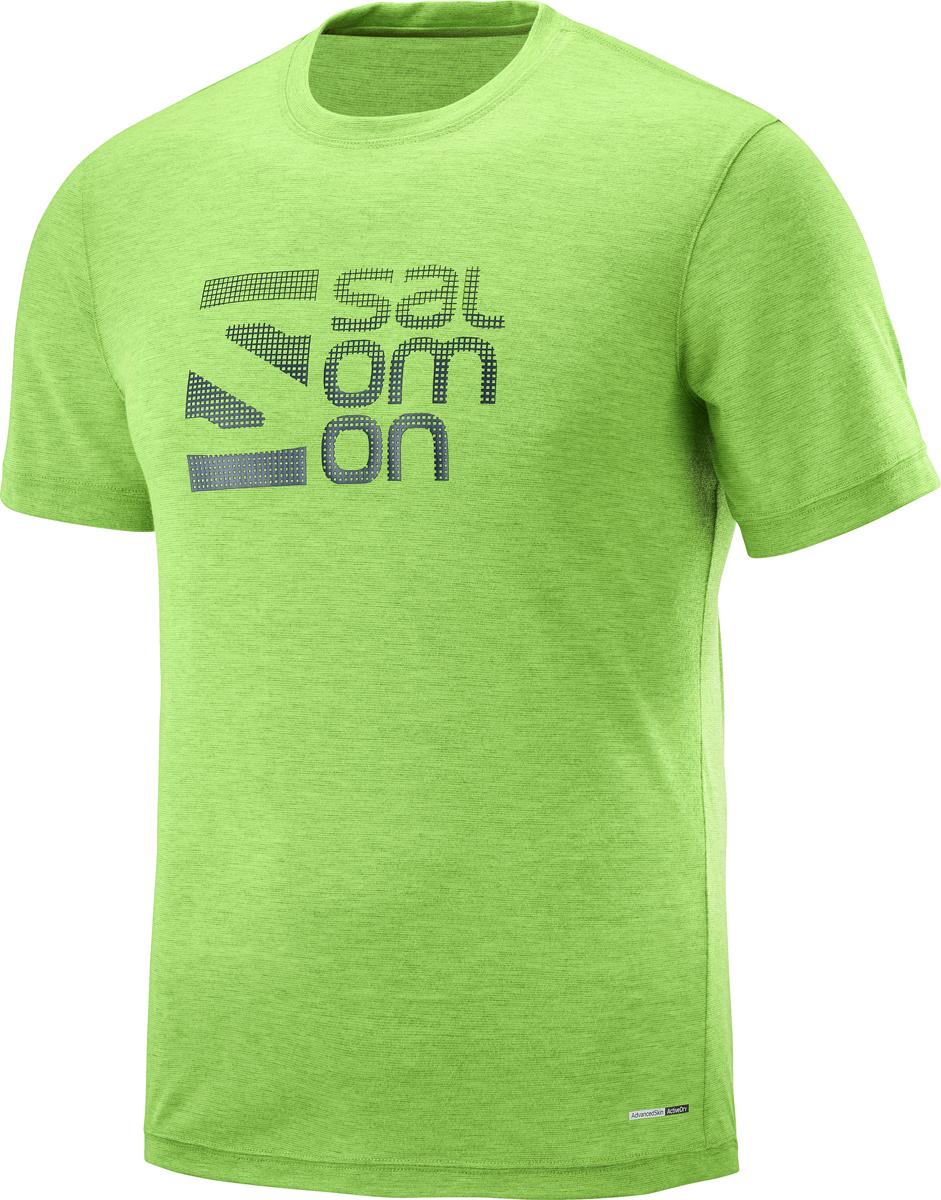 Футболка мужская Salomon Explore Graphic SS Tee M, цвет: зеленый. L40110500. Размер XXL (54)L40110500Мужская футболка с круглым вырезом горловины и короткими рукавами выполнена из полиэстера. Спереди модель оформлена принтом в виде логотипа бренда.