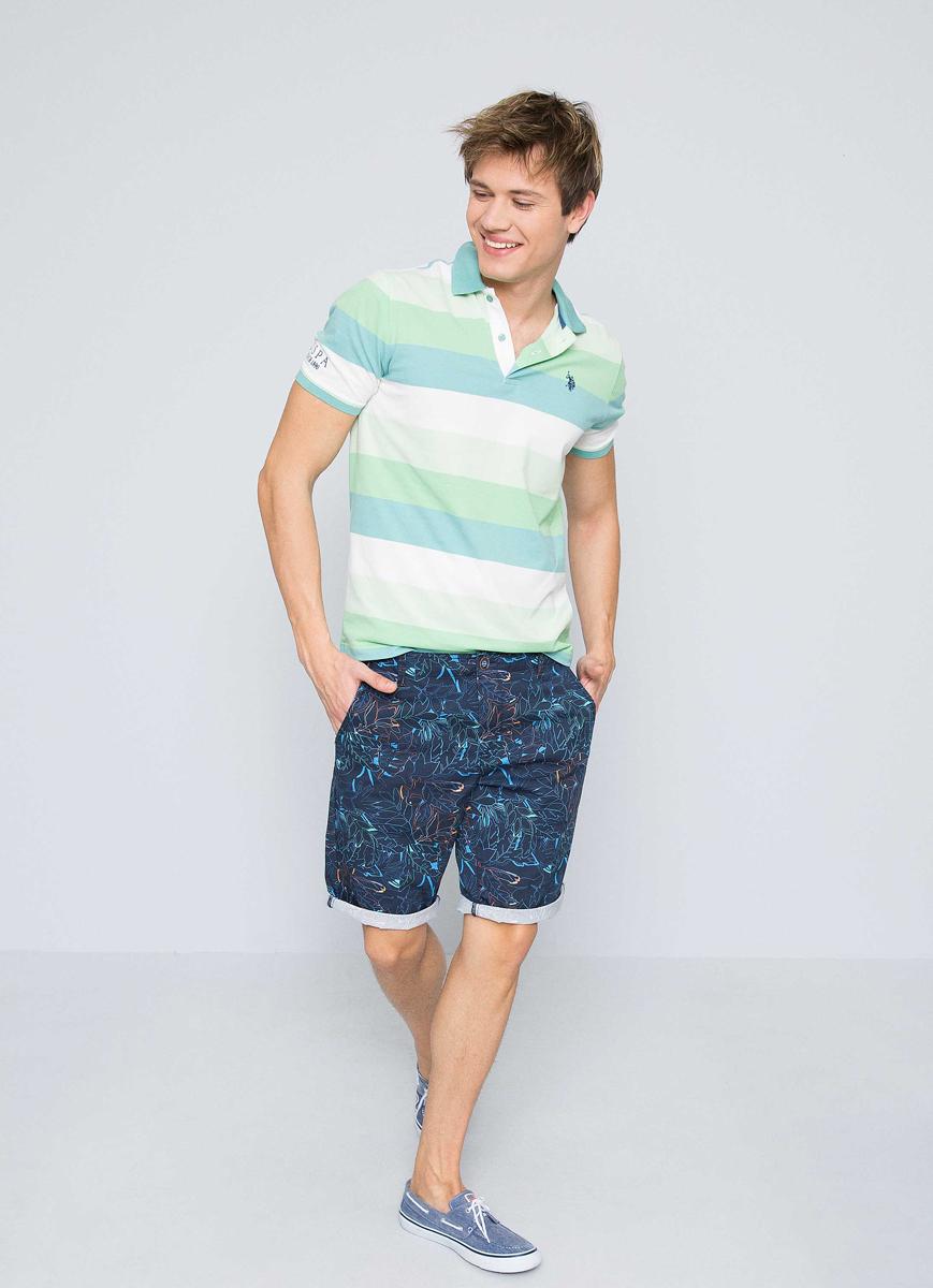 Поло мужское U.S. Polo Assn., цвет: бирюзовый. G081GL0110WILBERT. Размер XXS (44)G081GL0110WILBERT