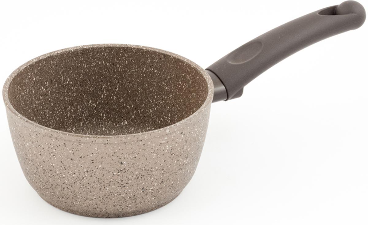 """Ковш TimA """"Art Granit Induction"""" изготовлен из алюминия с антипригарным покрытием. Особенностью данного ковша является стальной диск, впрессованный в дно, для получения магнитных свойств. А само дно посуды, используемой на индукционной плите, идеально ровное и гладкое. Добавление каменной крошки и минеральных частиц в слои покрытия делает его более прочным, долговечным и стойким к химическим воздействиям. Особая формула швейцарского антипригарного покрытия последнего поколения ILAG обеспечивает наилучшее сцепление с поверхностью, устойчивость к износу и позволяет легко мыть посуду. Ручки с покрытием Softtouch приятны на ощупь, не скользят в мокрых руках и не нагреваются. Повредить поверхность посуды серии Art Granit практически невозможно даже при использовании металлических предметов.  Подходит для использования на всех типах плит, включая индукционные."""
