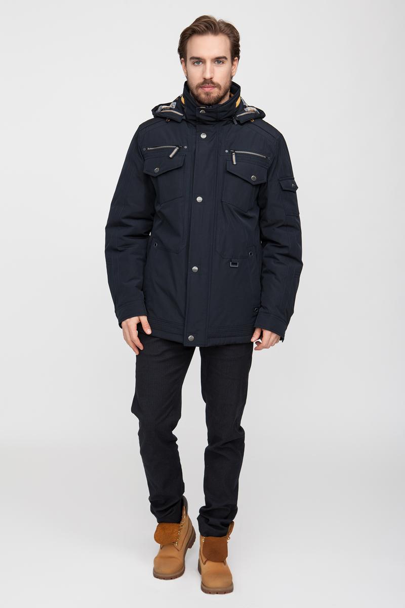 Куртка мужская Vizani, цвет: синий. 10555ТС_99. Размер 5810555ТС_99Демисезонная мужская куртка выполнена из хлопка с влагоотталкивающей и не продуваемой пропиткой. Модель с регулируемым капюшоном застегивается спереди на молнию с ветрозащитной планкой на кнопках. Куртка имеет 5 наружных и два внутренних кармана.
