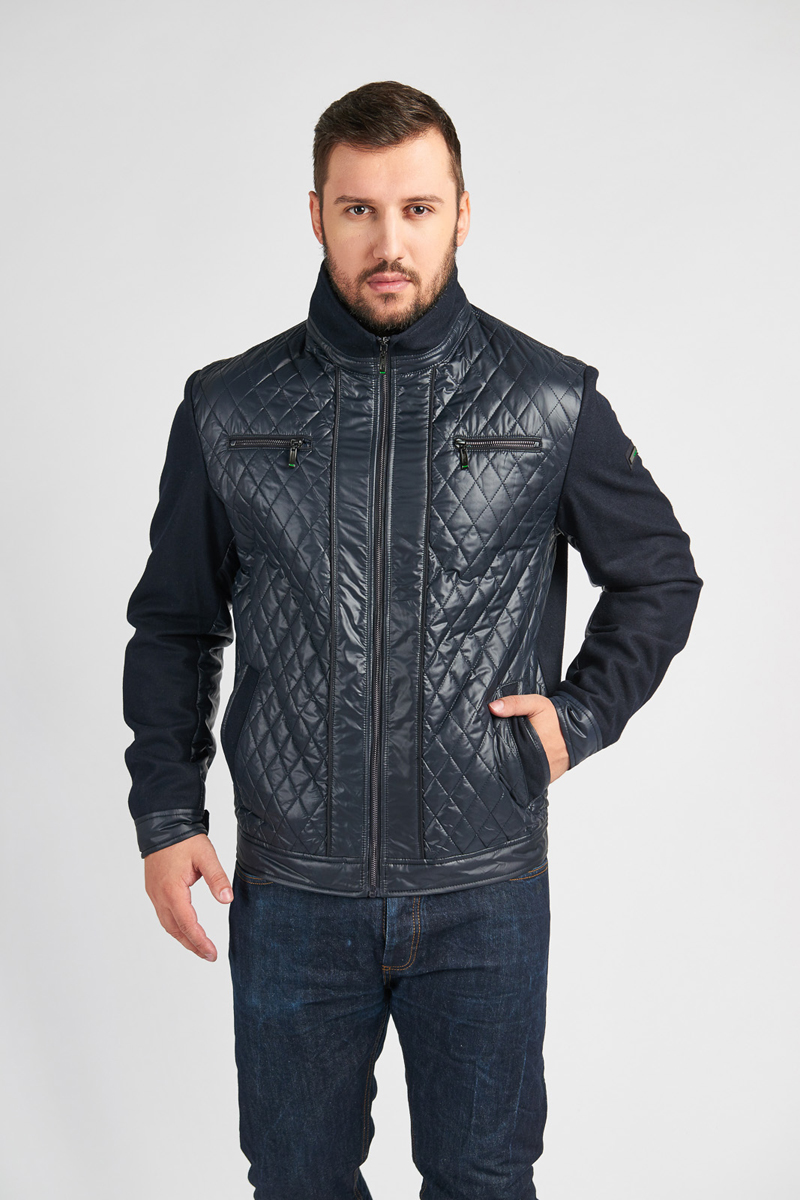 Куртка мужская Vizani, цвет: синий. 10572ТС_99DARK BLUE. Размер 5010572ТС_99DARK BLUEДемисезонная мужская куртка выполнена из комбинированного материала. Модель с воротником-стойкой застегивается спереди на молнию. Куртка спереди дополнена двумя втачными карманами и двумя нагрудными карманами на застежках-молниях.