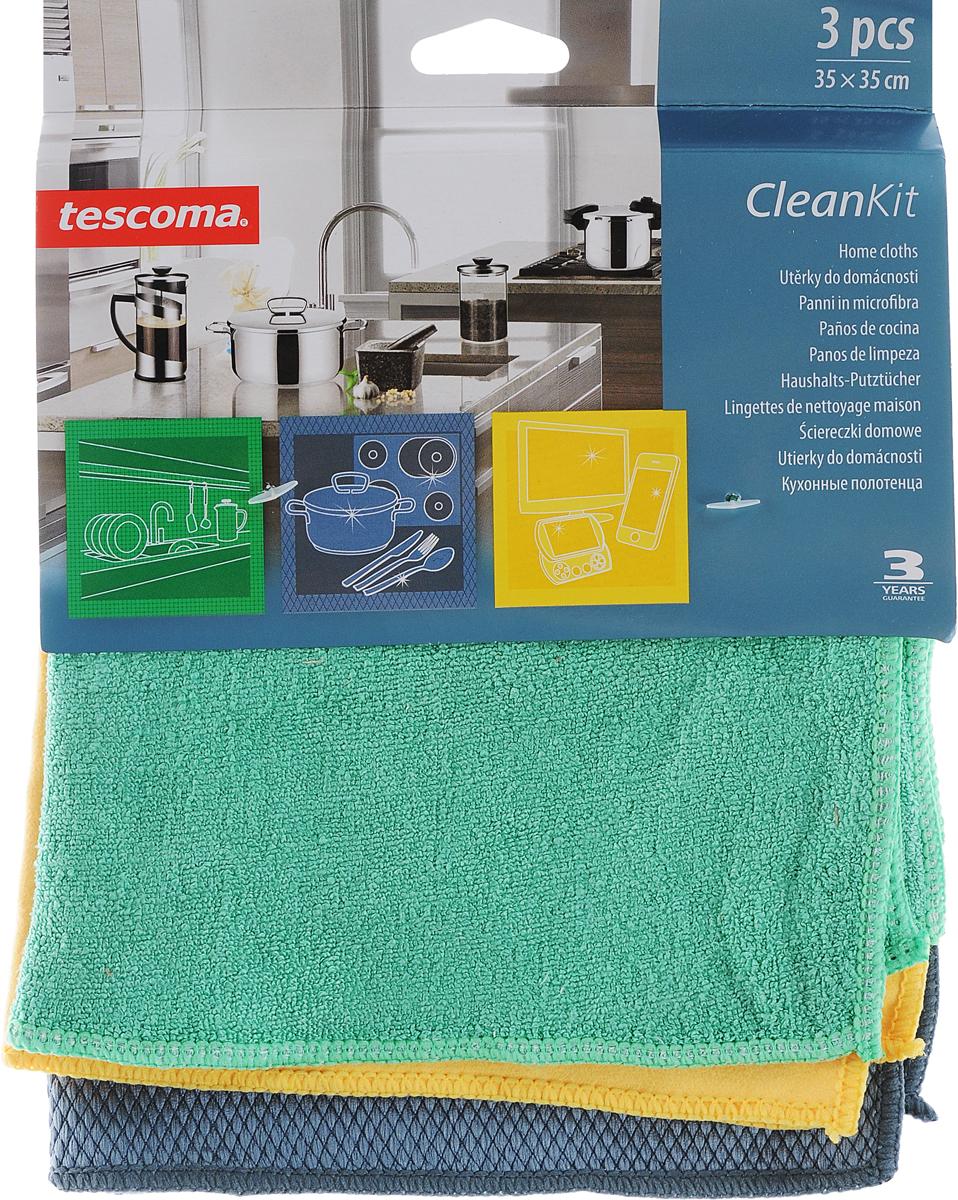 Кухонные полотенца Tescoma Clean Kit,3шт.900670_зеленый, желтый, серыйКухонные полотенца Tescoma Clean Kit, цвет: зеленый, желтый, серый, 3шт. 900670