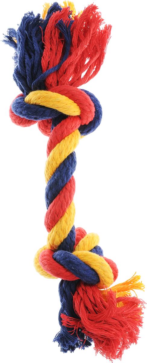 Игрушка для собак Зооник Канат, 2 узла, цвет: желтый, синий, красный, длина 20-25 см16466_желтый, синий, красныйИгрушка для собак Зооник Канат, 2 узла, цвет: желтый, синий, красный, длина 20-25 см