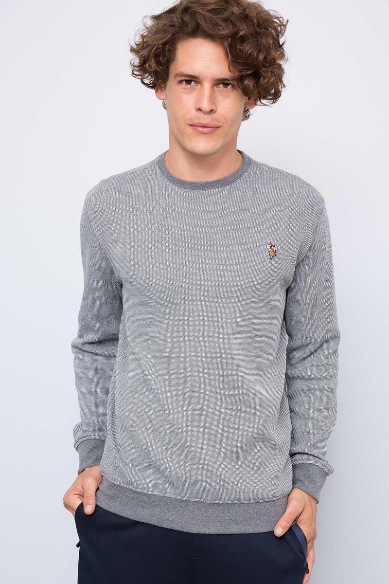 Свитшот мужской U.S. Polo Assn., цвет: серый. G081GL0820TILBURGSK7. Размер S (48)G081GL0820TILBURGSK7