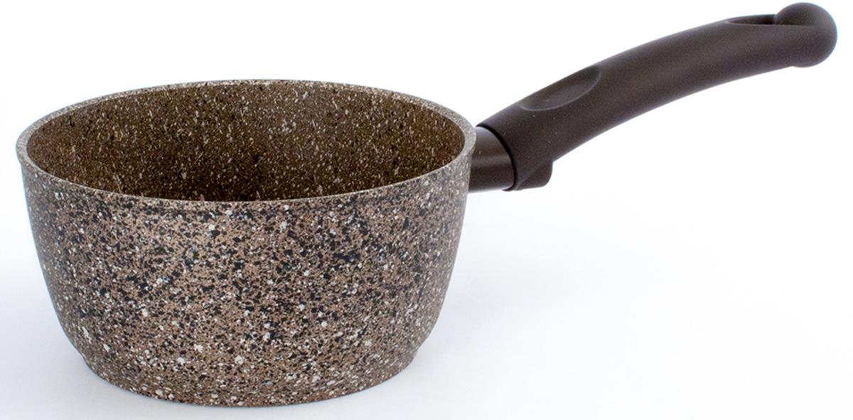 Ковш TimA Art Granit, с крышкой, с антипригарным покрытием. Диаметр 16 смAT-5116Ковш TimA Art Granit изготовлен из алюминия с антипригарным покрытием. Добавление каменной крошки и минеральных частиц в слои покрытия делает его более прочным, долговечным и стойким к химическим воздействиям.Особая формула швейцарского антипригарного покрытия последнего поколения ILAG обеспечивает наилучшее сцепление с поверхностью, устойчивость к износу и позволяет легко мыть посуду. Ручки с покрытием Softtouch приятны на ощупь, не скользят в мокрых руках и не нагреваются.Повредить поверхность посуды серии Art Granit практически невозможно даже при использовании металлических предметов.Подходит для использования на всех типах плит, кроме индукционных.