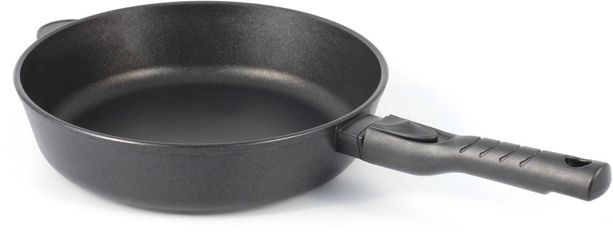 Сковорода TimA Шеф, со съемной ручкой, с антипригарным покрытием, диаметр 28 см28101ПСковорода TimA Шеф имеет форму, идеально подходящую как для жарки, так и для тушения пищи. Это достигается увеличенной высотой стенок и формой, слегка расширяющейся кверху.Корпус сковороды изготовлен по принципу золотого сечения, т.е. имеют оптимальное соотношение толщины дна (7 мм) и стенок (4 мм). Это предотвращает деформацию изделия и повышает теплопроводность во время эксплуатации, экономит энергию, обеспечивает их долгий срок службы. Сковорода Шеф имеет усовершенствованное двухслойное антипригарное покрытие GREBLON ЕСО (Германия), которое является одним из лучших в своём классе. По стандарту гигиенической сертификации оно относится к безопасному покрытию, без использования PFOA и PTFE.Специально разработанная эргономичная бакелитовая ручка для сковороды Шеф очень удобна в эксплуатации, не скользит и не нагревается. Это позволяет сделать использование сковороды комфортным и безопасным.