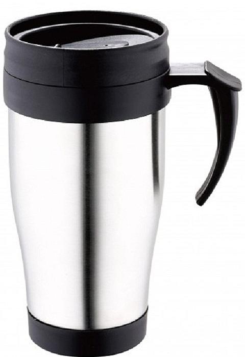 Термокружка изготовлена из нержавеющей стали и пластика.  Особенностью термокружки является наличие герметичной разборной пробки-стопора клапанного типа для удобного наливания напитков.