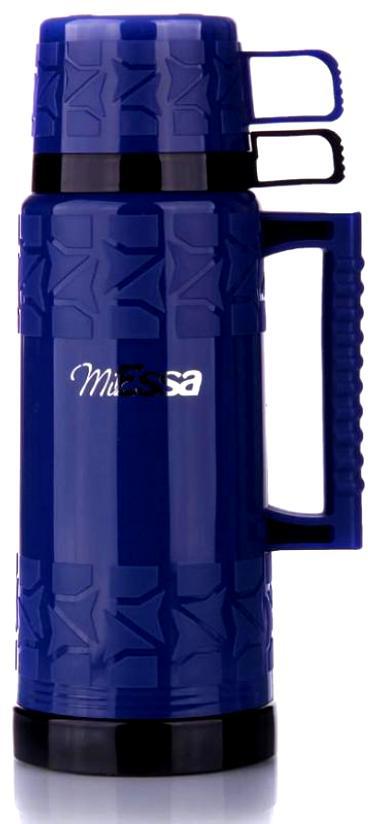 Термос MiEssa Aqua, с кружками, цвет: синий, 1 л. MTR100MTR100Термос MiEssa Aqua изготовлен из нержавеющей стали и пластика. В этом термосе применена система высококачественной вакуумной изоляции. Термос помогает сохранить температуру в течение 12 часов для горячих напитков и 24 часов для холодных.Особенностью термоса является наличие герметичной разборной пробки-стопора клапанного типа для удобного наливания напитков.