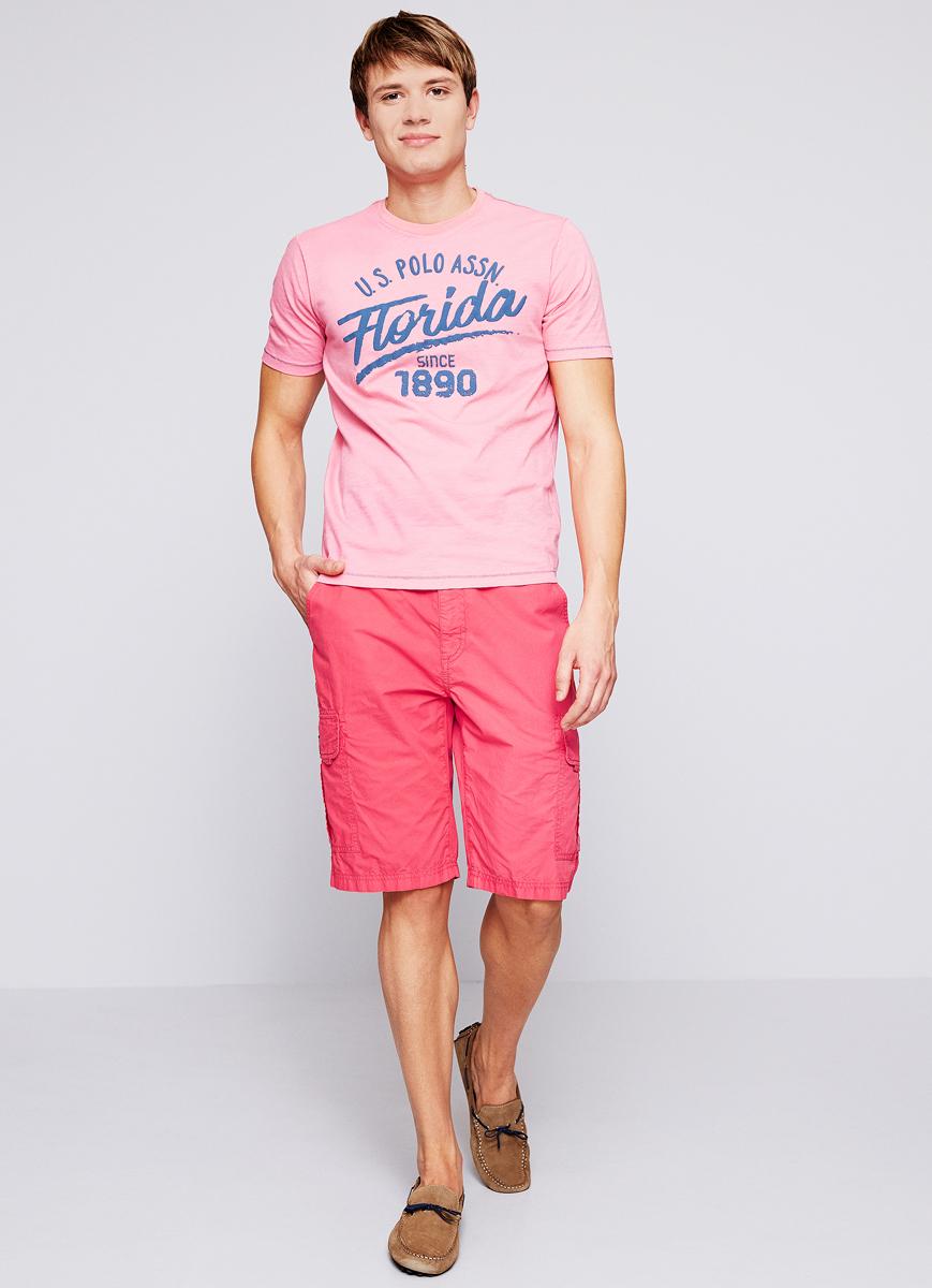 Футболка мужская U.S. Polo Assn., цвет: розовый. G081SZ0110BRUCE. Размер M (50)G081SZ0110BRUCE